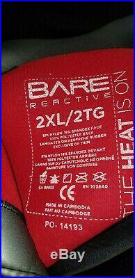 2XL BARE 7mm Reactive Full black and red men's wetsuit. 230-255 lbs 6'1-6'3