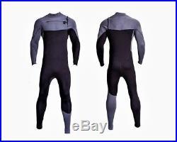 4/3 & 3mm Chest Zip Full Body Wetsuit Black Gray Front Zipper Surf Scuba 4/3mm