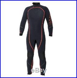 Bare 5mm Reactive Full Jumpsuit Wetsuit Mens Scuba Diving Dive Suit Black/Red