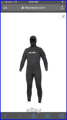 Bare 8/7mm Semi-Dry Velocity Hooded Full Scuba Diving Wetsuit Men s Black XL