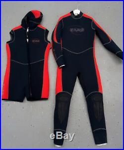 Bare Elastek Full Men's Full + Hooded Vest 7mm Set Scuba Diving Wetsuit USED XL