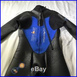 Ironman Triathlon Men's L Stealth Wetsuit Black Blue Full Length Back Zip Racer