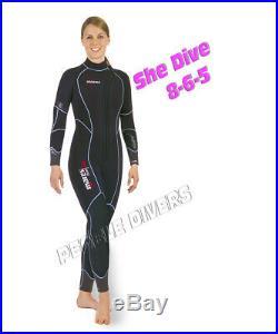 Mares Flexa 8-6-5 full Woman Wet Suit 8mm core front zip Scuba water size 14