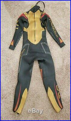 Men's XS TYR Freak of Nature Triathlon Full Wetsuit Black Yellow Yamamoto