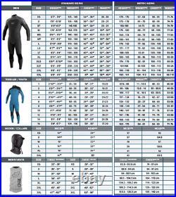 NWT O'Neill Men's Epic 4/3mm Back Zip Full Wetsuit, BLK/BLK/BLK, Medium M