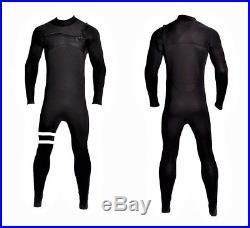 New 4/3 Chest Zip Full Body Wetsuit Black White Stripes Front Zipper Zip 4/3mm
