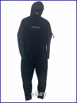New Xcel Mens Full Wetsuit Size Large Hooded 7mm Ankle Zippers Black