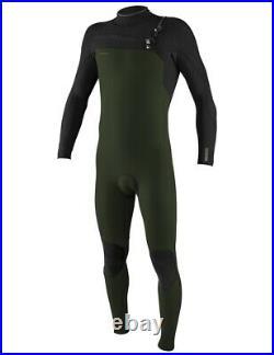 O'Neill Hyperfreak 5/4 + Mens Winter Wetsuit Chest Zip Full Ghost/Grn (XL)