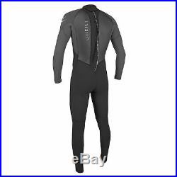 O'Neill Reactor 2 3/2 MM Thick Back Zip Full Wetsuit, Size Large, Black/Graphite