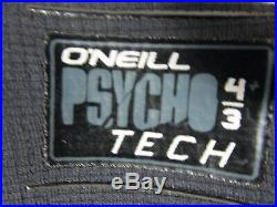 O'neill Psycho-tech Fuze 4/3mm Chest Zip Men's Full Wetsuit 2xl Black New