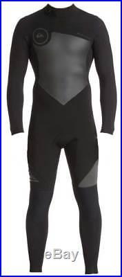 Quiksilver Men's Syncro Series 4/3mm Back Zip Full Wetsuit Jet Black New