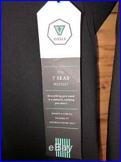 VISSLA Men's 3/2 SEVEN SEAS Full Chest Zip Wetsuit BLK Large New Rare Free Ship